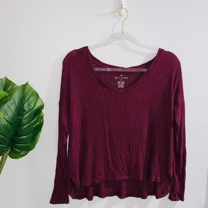 American Eagle Soft & Sexy Burgundy Long Sleeve